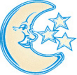 Free Clipart Picture of The Man in the Moon and Some Stars