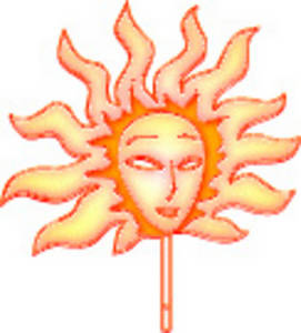 Free Clipart Picture of a Flaming Sun Mask