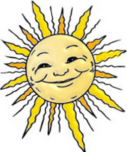 Free Clipart Picture of Chubby Faced Sun