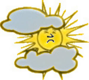 Free Clipart Picture of a Sun Trying to Break Through The Clouds