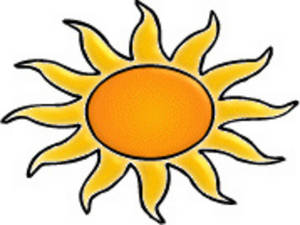 Free Clipart Picture of an Orange and Gold Sun