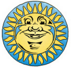 Free Clipart Picture of Yellow Sun with a Face on a Blue Disc