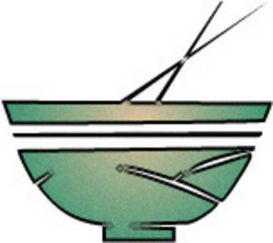 Free Clipart Picture of a Green Bowl with Chopsticks