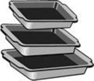 Free Clipart Picture of Graduated Sizes of Baking Pans