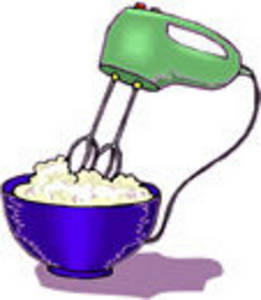 Free Clipart Picture of a Hand Mixer Mixing Batter