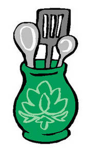 Free Clipart Picture of a Container of Kitchen Utensils