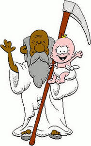 Free Clipart Picture of Father Time with the New Year Baby