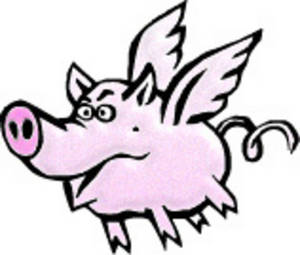 Free Clipart Picture of a Winged Pig
