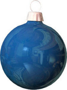 Free Clipart Picture of a Blue, Reflective Christmas Ornament