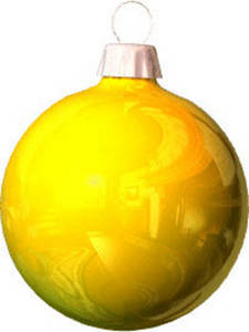 Free Clipart Picture of a Yellow Reflective Christmas Bulb