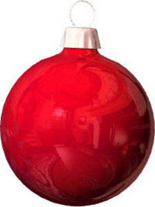 Free Clipart Picture of a Red Christmas Ornament with a Reflection