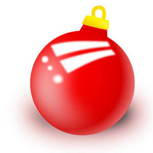 Free Clipart Picture of a Round, Red Christmas Ornament