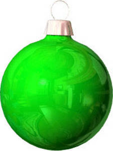 Free Clipart Picture of a Green, Reflective Christmas Ornament