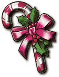 Free Clipart Picture of a Decorated Candy Cane