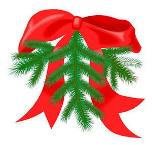 Clipart Picture of Pine Bough Christmas Decoration