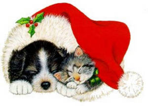 Free Clipart Picture of a Puppy and a Kitten Asleep in a Santa Hat