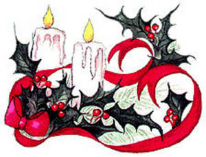 Free Clipart Picture of  Two Christmas Candles and Holly with a Ribbon
