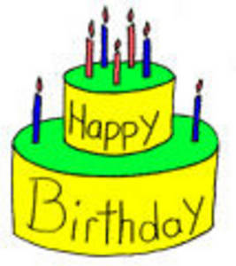Free Clipart Picture of a Yellow Birthday Cake with Candles