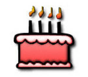 Free Clipart Picture of a Single Layer Birthday Cake with Candles