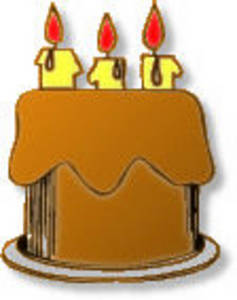 Free Clipart Picture of a Chocolate Birthday Cake with 3 Candles