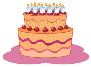 Free Clipart Picture of a Fancy Decorated Birthday Cake with Lots of Candles