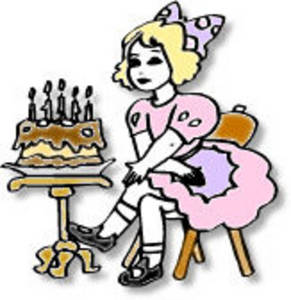 Free Clipart Picture of a Little Girl Sitting with her Birthday Cake