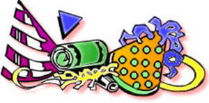 Free Clipart Picture of Party Supplies Including Hats and Noise Makers