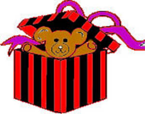 Free Clipart Picture of a Teddy Bear Present