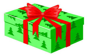 Free Clipart Picture of a Christmas Present Wrapped in Foil Paper with a Bow