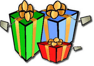 Free Clipart Picture of Three Christmas Presents With Gift Tags