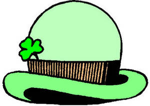 Free Clipart Image of a Green Bowler Hat with a Four Leaf Clover in the Band