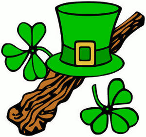 Free Clipart Image of a Green Leprechaun's Top Hat and Clover