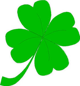 Free Clipart Picture of a Four-Leaf Clover