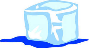 Free Clipart Illustration of a Melting Ice Cube