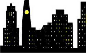 Free Clipart Illustration of a City Skyline at Night