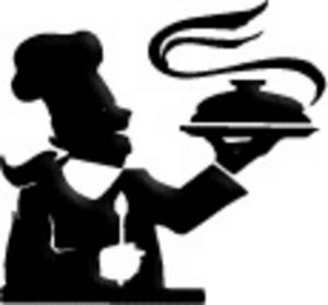 Free Clipart Picture of a Chef, Holding a Platter, In Silhouette