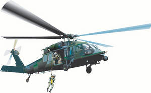 Free Clipart Illustration of a Realistic, Camouflaged Helicopter