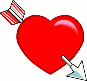 Free Valentine Clipart Picture of a Fat, Red Heart Pierced by an Arrow