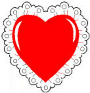 Free Valentine Clipart Picture of a Red Heart with White Lace Around the Edge