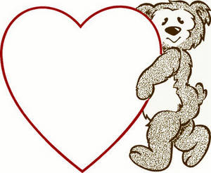Free Valentine Clipart Picture of a Bear Holding a Heart Outline
