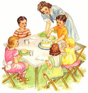 Free Clipart Picture of a Vintage Illustration of an Outdoor Birthday Party