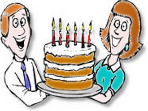Free Clipart Picture of Mom and Dad Holding a Birthday Cake