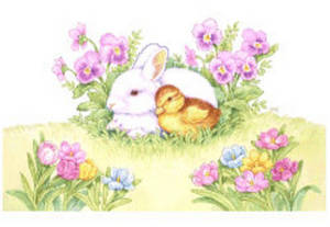 Free Clipart Picture of an Easter Scene with a Bunny, a Chick and Flowers