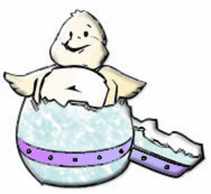 Free Clipart Picture of a Baby Chick Hatching From an Easter Egg
