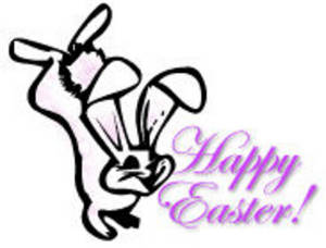 Free Clipart Picture of an Easter Bunny Kicking Up His Hind Legs