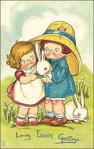 Free Vintage Easter Clipart Picture of Two Little Girls Playing with White Bunnies