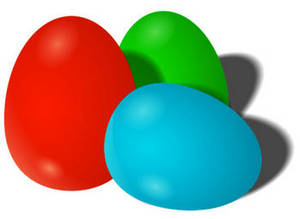 Free Clipart Picture of Three Plastic Easter Eggs