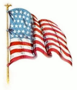 Free Vintage Clipart Image of an American Flag, Facing Right, Waving