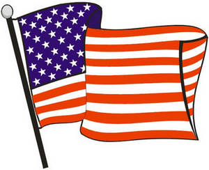 Free Color Clipart Illustration of the American Flag