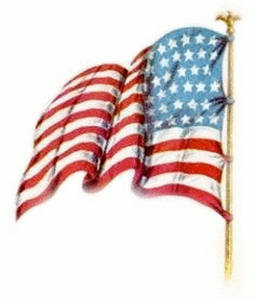 Free Vintage Clipart Image of an American Flag, Facing Left, Waving
